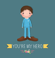 Cute boy wearing in his father s shoes vector image