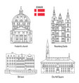 denmark set landmark icons vector image