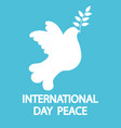dove with a tree branch for international peace vector image vector image