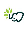 elephant baby leaf logo icon vector image