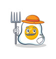 farmer fried egg character cartoon vector image vector image