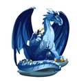 Figure icy blue dragon with Golden claws vector image vector image