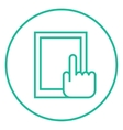 Finger pointing at tablet line icon vector image vector image