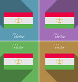Flags Tajikistan Set of colors flat design and vector image