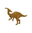 flat design of brown parasaurolophus vector image