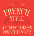 french style label font poster vector image