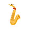 funny saxophone musical wind instrument cartoon vector image