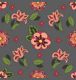 gray seamless pattern with spring flowers cover vector image vector image