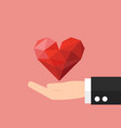 hand giving a heart icon for business design vector image