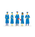 happy graduating students - flat design style vector image