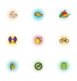 Healthy lifestyle icons set pop-art style vector image vector image