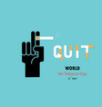 human hands and cigarettequit tobacco logo vector image