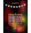 jewish holiday Hanukkah with menorah vector image