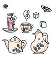 kawaii cup icon set hand drawn vector image