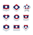 laos flags icons and button set nine styles vector image