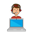 laptop with call center man agent vector image