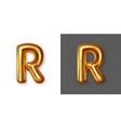 metallic gold alphabet letter symbol - r vector image