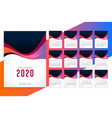 modern 2020 new year stylish calendar template vector image