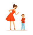 mother character scolding her upset son vector image vector image