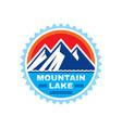 mountain lake - logo template concept vector image