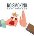 no smoking concept anti tobacco hand vector image