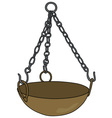 Old brass magical cauldron vector image vector image