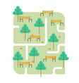 park map path and tree bench and squirrel square vector image
