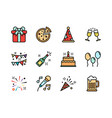 party icon set colorline style symbols for vector image vector image