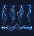 realistic lightnings electricity thunder light vector image
