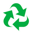 reuse and recycling icon green ecological sign vector image