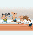 running athletes and correspondent vector image vector image