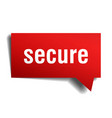 secure red 3d speech bubble vector image vector image