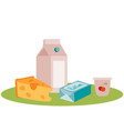 set dairy products isolated object on a white vector image vector image