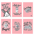 set of cute card with rabbit vector image vector image