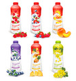 set of yogurt in bottles with fruit and berries vector image
