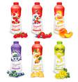 set yogurt in bottles with fruit and berries vector image vector image