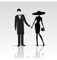 silhouettes lady and gentleman vector image vector image