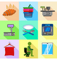 supermarket labels icons set flat style vector image vector image