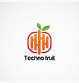 techno fruit logo designs with modern touch vector image vector image