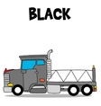 Transportation of black truck cartoon vector image vector image