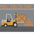 truck forklift warehouse machine work cardborad vector image