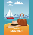 welcome summer card vector image vector image