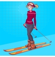 Winter holidays Beautiful young girl on ski vector image vector image
