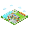 Isometric City School Building with Swimming Pool vector image