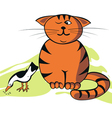 funny cat and bird vector image