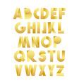 Retro font in gold Golden alphabet Realistic vector image