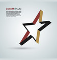 star icon 3d ribbon abstract symbol vector image