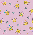 princess crowns and diamonds seamless pattern on vector image