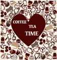 tea coffee heart shape vector image