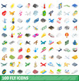 100 fly icons set isometric 3d style vector image vector image